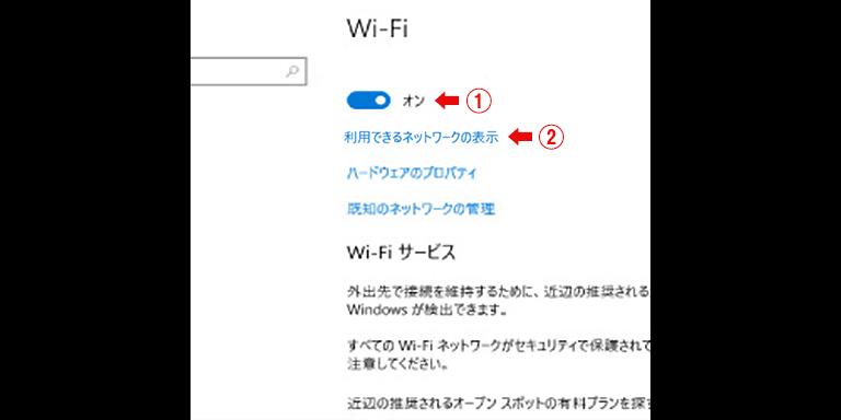 利用できるネットワークの表示
